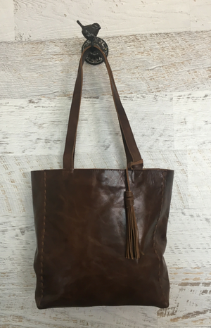 Lento Shopper Leather Tote - Dark Chocolate