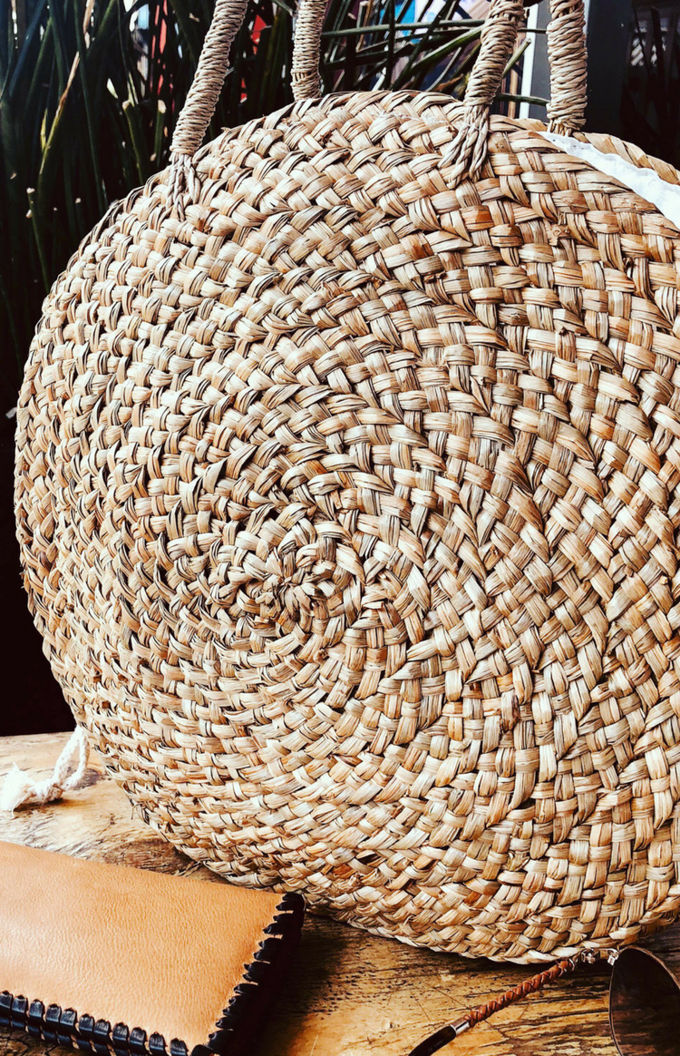 Paros Straw Round Bag - Natural