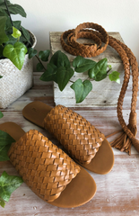 Muse Plait Tie Leather Belt - Tan