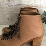 Nyx Lace Up Leather Heel - Taupe