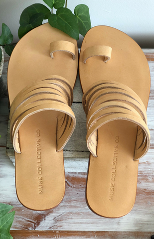 Dimi Strappy Leather Slide - Natural