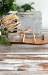 Poppy - Pom Pom Leather Sandal - Natural