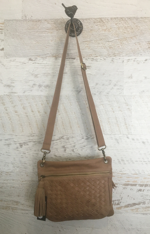 Eris Woven Satchel - Taupe Leather