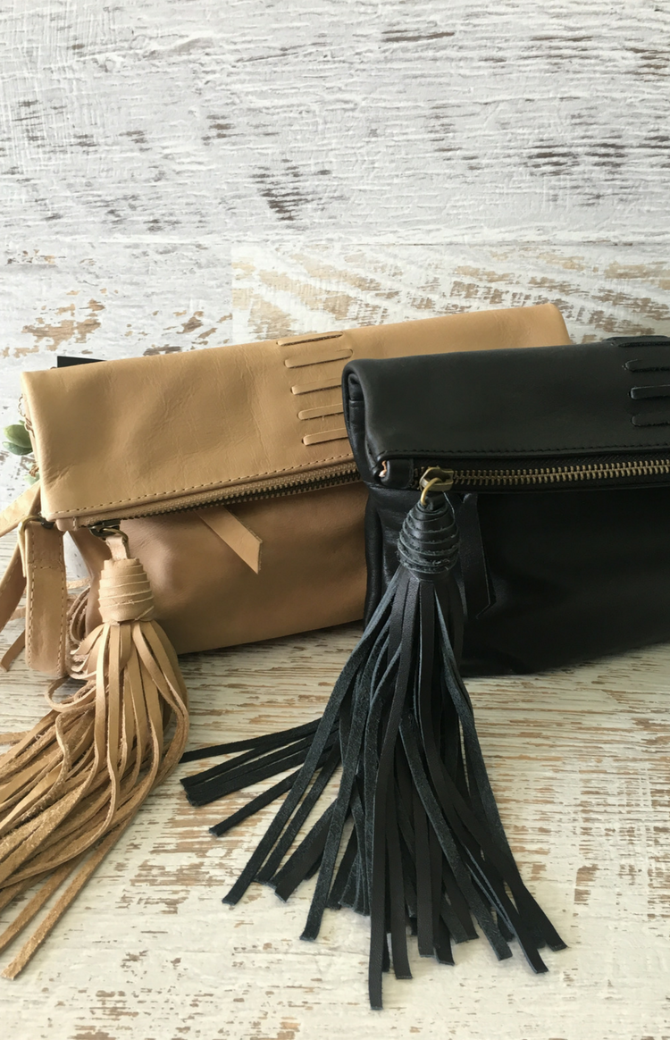 Zoe Fold Over Clutch - Latte