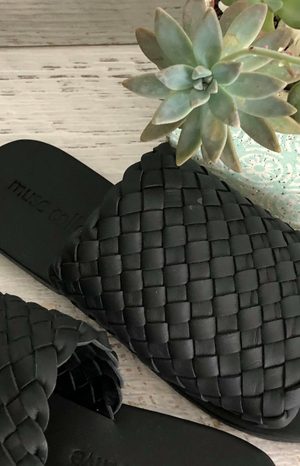 Leto Woven Leather Slides - Black