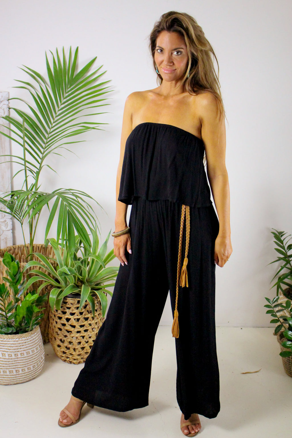 AFTERPAY STRAPLESS PANTSUIT BLACK