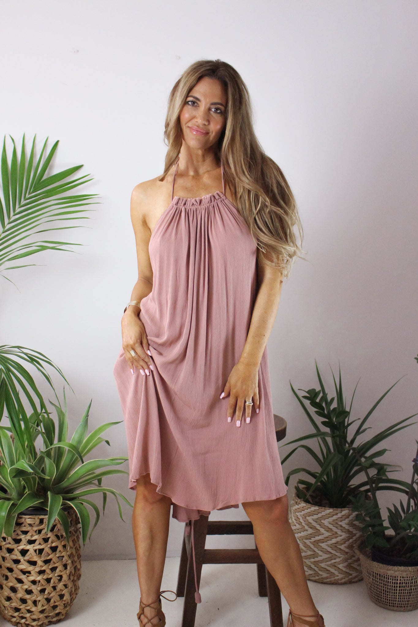 AFTERPAY HALTER MIDI DRESS BLUSH