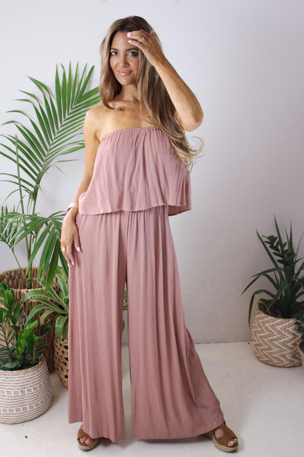 AFTERPAY STRAPLESS PANTSUIT BLUSH