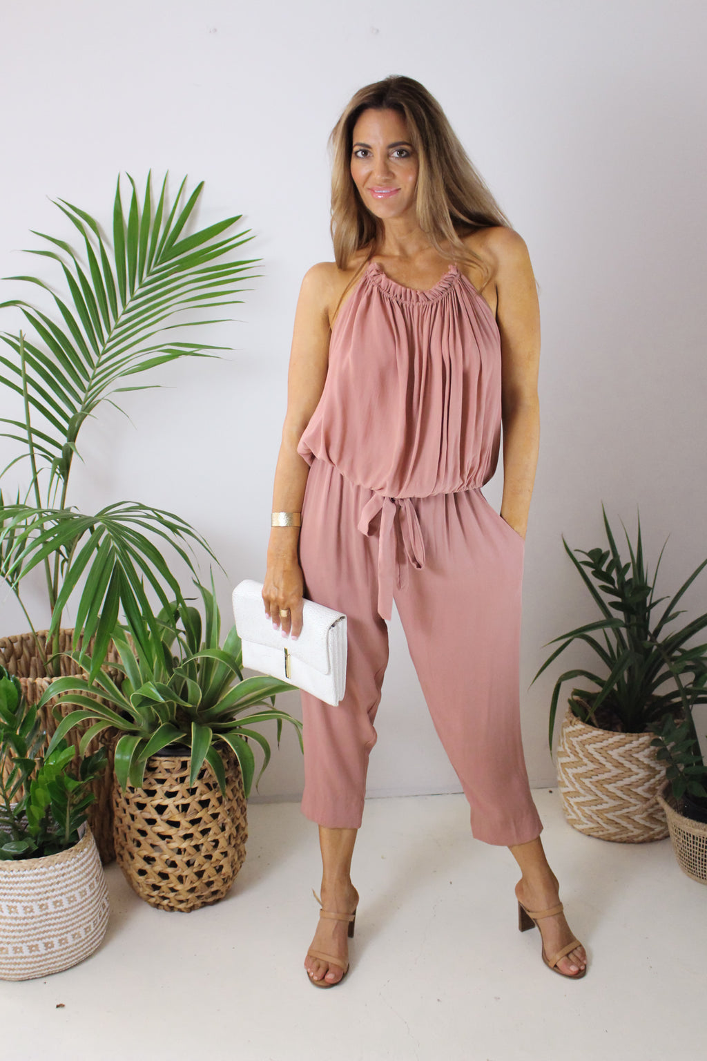 AFTERPAY CAPRI PANTS BLUSH