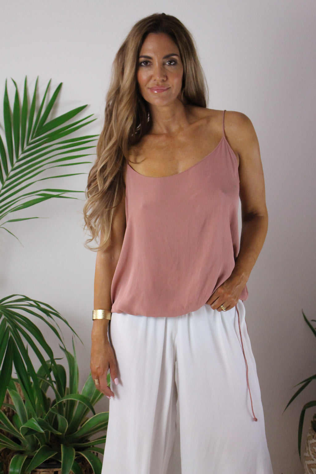 AFTERPAY BLOUSED CAMI BLUSH