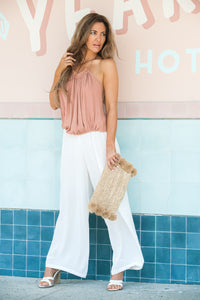 AFTERPAY WIDE LEG PANTS WHITE