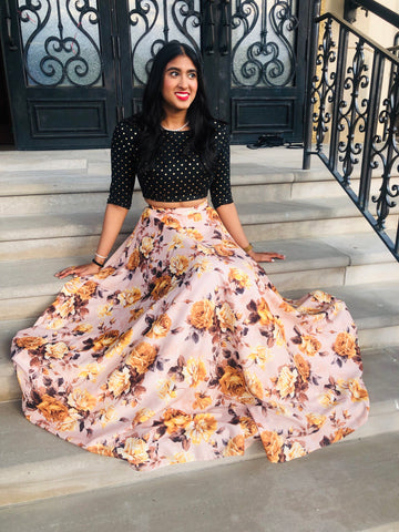 Black Half Sleeve Crop Top with Yellow Rose Lehenga Skirt - Harleen Kaur Lehenga