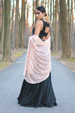 SARINA Floor Length Silk Dress in Black - Back View - Harleen Kaur Womenswear - Sample Sale