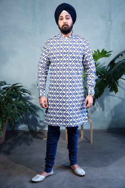 SUMEET Stretch Cotton Shirt with Geometric Print in Blue Multi - Front View - Harleen Kaur