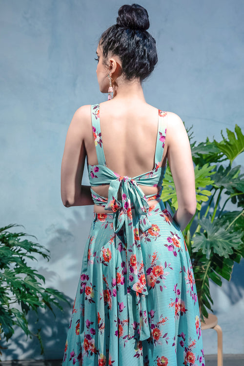 CAMILA Wrap Crop Top in Floral Print Cotton - Back View - Harleen Kaur Indian Womenswear
