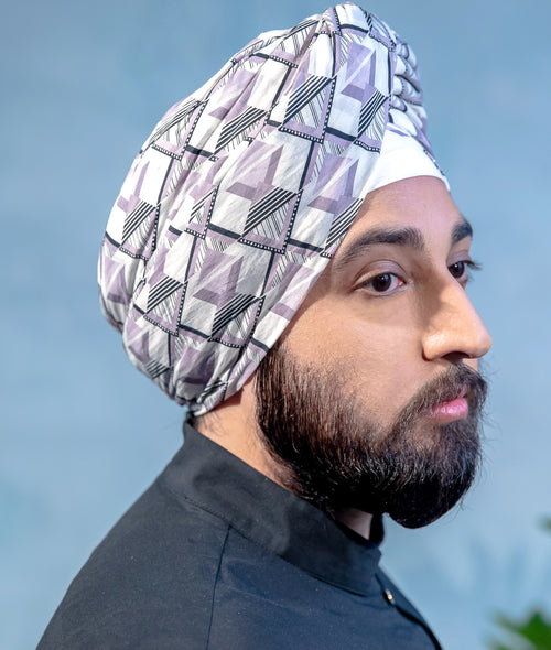 MAHA Geometric Print Turban in Grey Multi - Side View - Harleen Kaur