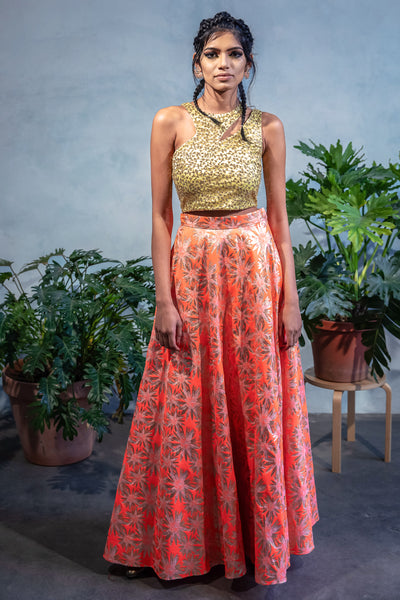 MONICA Gold Sequin Embroidered Crop Top in Lime Green- Front View - Harleen Kaur