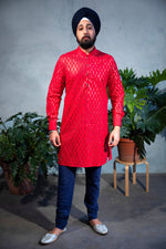 SUMEET Foiled Cotton Kurta Shirt - Front View - Harleen Kaur - Indian Menswear