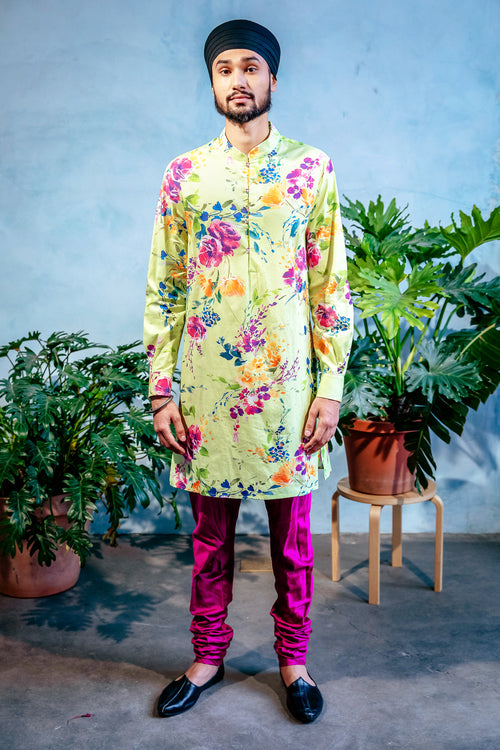 SUMEET Floral Stretch Cotton Kurta Shirt - Front View - Harleen Kaur - Ethically Made Menswear