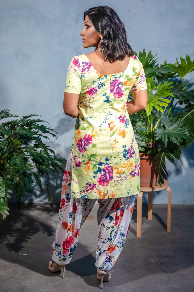 AATMA Floral Salwar Pants in White - Back View - HARLEEN KAUR