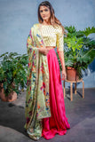 ANISHA Palm Cupro Skirt in Pink - Front View - Harleen Kaur