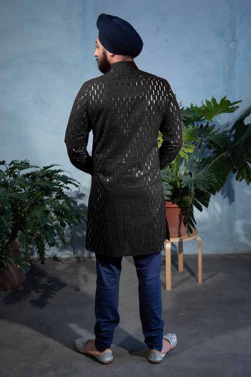SUMEET Foiled Cotton Shirt in Black - Back View - Harleen Kaur