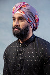 MAHA Cotton Turban in Grey Floral Print - Side View - Harleen Kaur