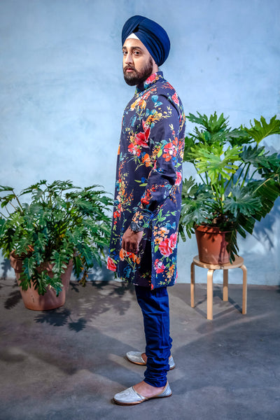 SUMEET Navy Floral Stretch Cotton Kurta Shirt - Front View - Harleen Kaur - Modern Indian Menswear