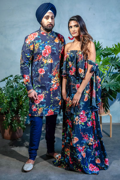 SUMEET Floral Stretch Cotton Kurta Shirt - Front View - Harleen Kaur - Indowestern Menswear