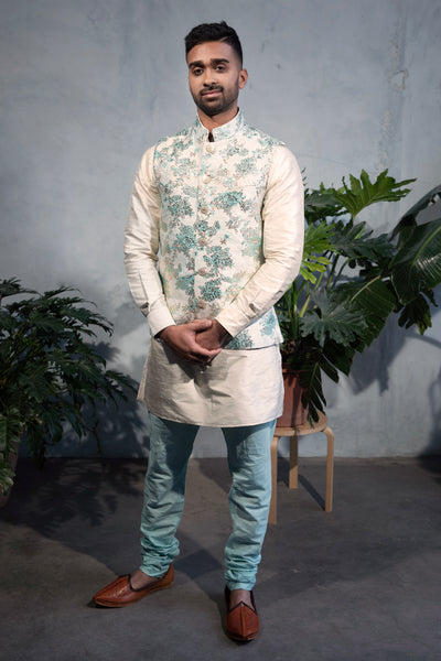 MUNIR Pastel Jacquard Vest with Mandarin Collar - Front View - Harleen Kaur - South Asian Menswear