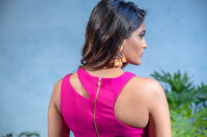 MONICA Asymmetrical Cutout Crop Top in Magenta Stretch Crepe - Back View - Harleen Kaur