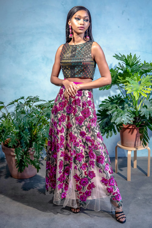 DIVYA Fuchsia Sequin Embroidered Skirt - Front View - Harleen Kaur - South Asian Womenswear