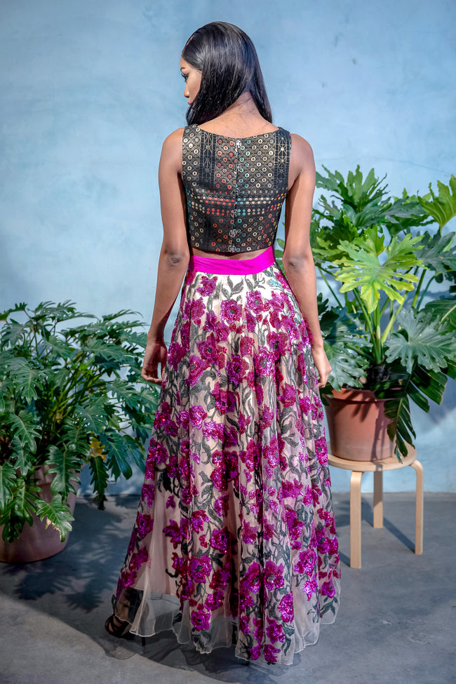 DIVYA Fuchsia Sequin Embroidered Skirt