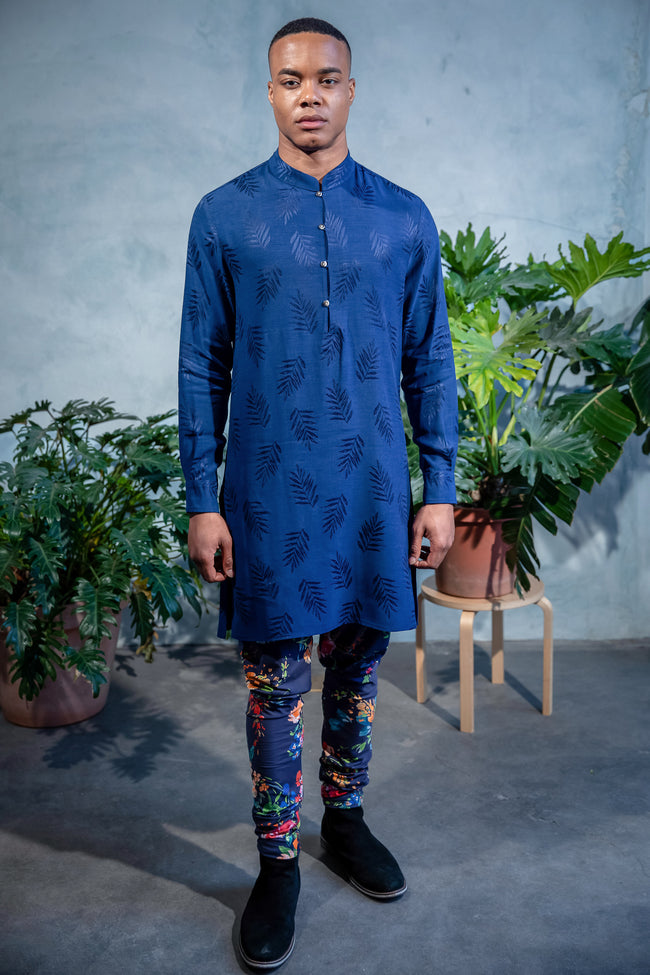 SUMEET Cupro Soft Kurta Shirt with Mandarin Collar - Front View - Harleen Kaur - South Asian Menswear
