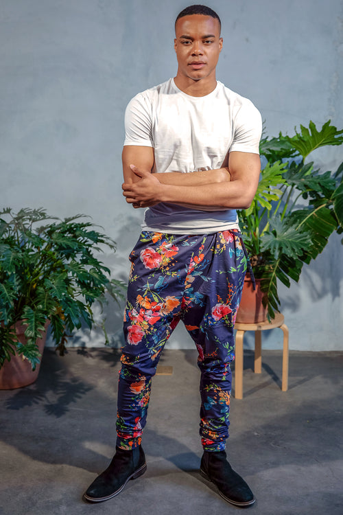 JEEVAN Tropical Floral Pant - Front View - Harleen Kaur Menswear - Sample Sale