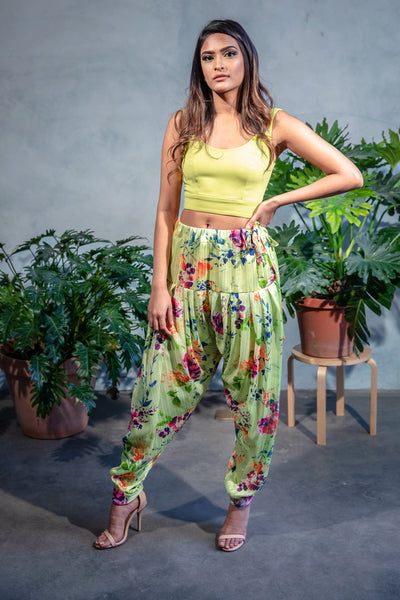 Lime Green Floral Printed Salwar Pants - Harleen Kaur - Front View