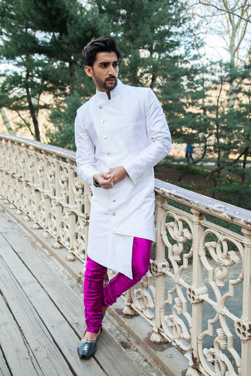 BRAR Asymmetrical Sherwani Jacket in White Silk - Front View - Harleen Kaur Menswear - Sample Sale