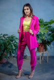 FARIA Stretch Crepe Blazer in Magenta - Opened - Front View - Harleen Kaur