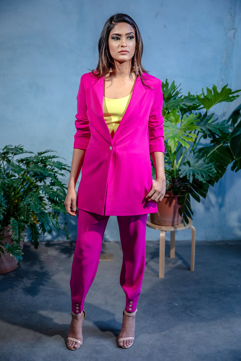 FARIA Stretch Crepe Blazer in Magenta - Closed - Front View - Harleen Kaur