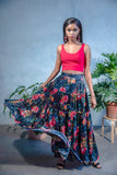 MILLY Metallic Satin Navy Floral Skirt - Front View - Harleen Kaur - Ethically Made Womenswear