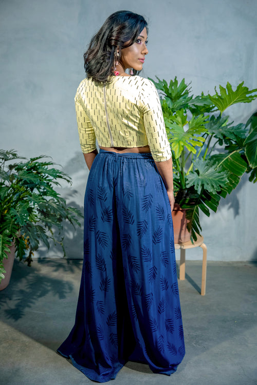 WIND Palm Cupro Pants in Navy - Back View - Harleen Kaur - Indowestern Womenswear