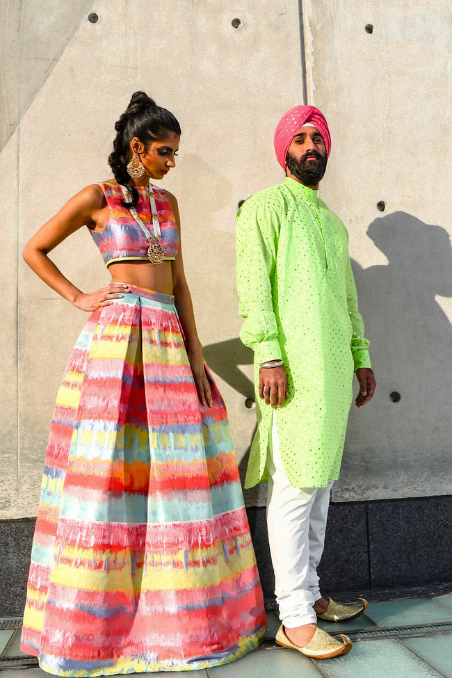 JAMANI Multicolor Painted Lehenga Skirt | HARLEEN KAUR
