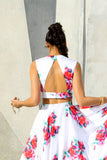 PARI V neck floral matte satin crop top with open triangle back - back view | HARLEEN KAUR