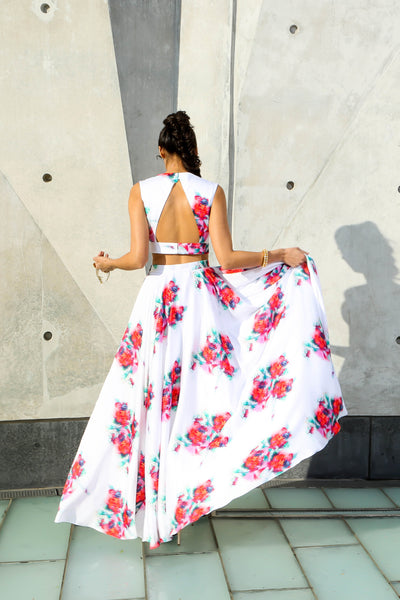 ALISHA White Matte Satin with Pink and Red Floral Print Lehenga Skirt - Back View