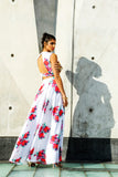 ALISHA White Matte Satin with Pink and Red Floral Print Lehenga Skirt - Side View