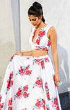 PARI Deep V neck floral matte satin crop top - front view | HARLEEN KAUR