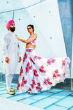 ALISHA White Matte Satin with Pink and Red Floral Print Lehenga Skirt - Front View
