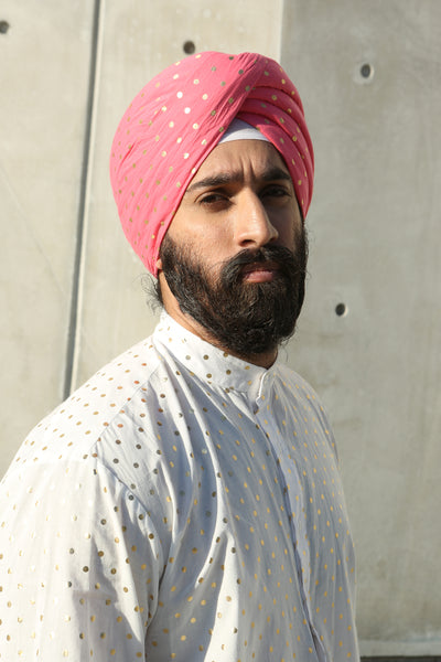 MAHARAJA Cotton Turban with Gold Polkadots | HARLEEN KAUR