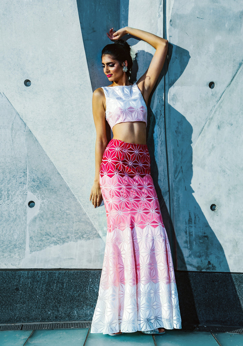 SHANAYA pink ombre geometric embroidered fit skirt | HARLEEN KAUR