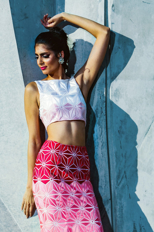 Pink Ombre Geometric Modern Lehenga Top - Front View - Harleen Kaur - Indowestern Womenswear